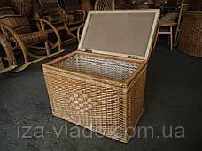 Ящик низкий ровный для белья плетеный из лозы, фото 2