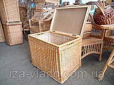 Ящик низкий ровный для белья плетеный из лозы, фото 3