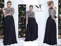 Чорне ошатне жіноче батальне видовжене сукню . Арт-7678/65