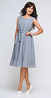 Платье Swallow-109 белорусский трикотаж, синий+полоска, 44