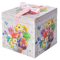 "Коробка подарочная бумажная ""Лето"" N00372, размер 15*15*15см, коробки для подарков, подарочная коробка, коробочки"
