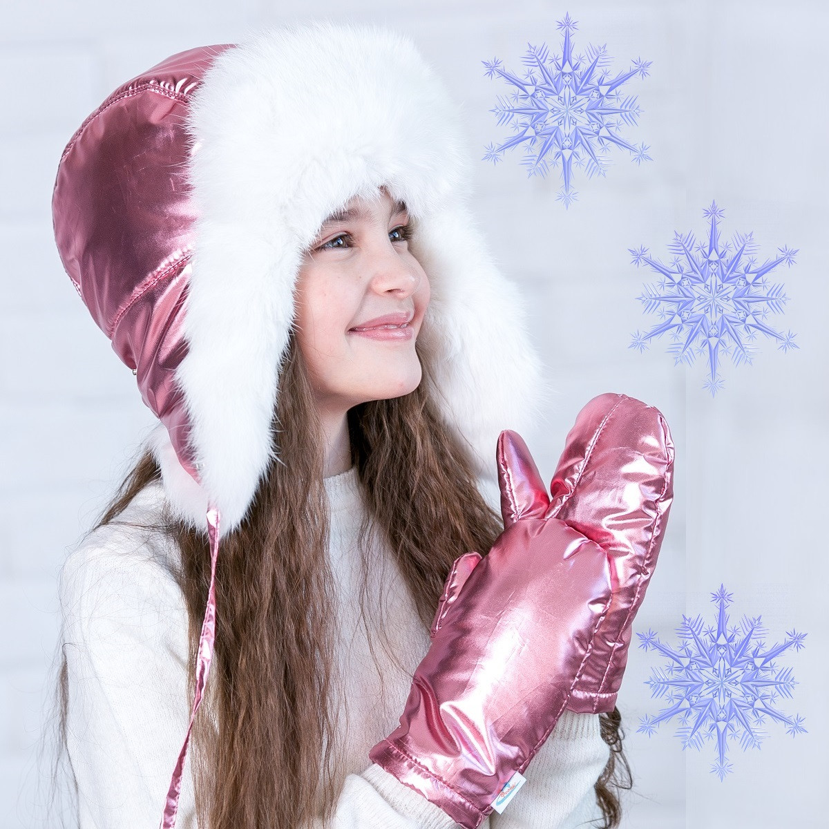 Блестящая  зимняя  шапочка  на синтепоне  SH-2019  - Розовый