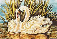 Картина из янтаря. Панно Лебеди.