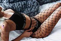 """Крутые черные сеточные сетчатые колготки """"Триумф""""9522 в крупную сетку реклама"""
