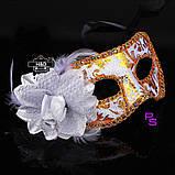 "Шикарная белая маска ""Ренессанс""5226 с цветком реклама, фото 2"
