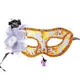 "Шикарная белая маска ""Ренессанс""5226 с цветком реклама, фото 3"