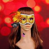 "Яркая золотистая маска ""Пламя""5236 с цветком реклама, фото 5"