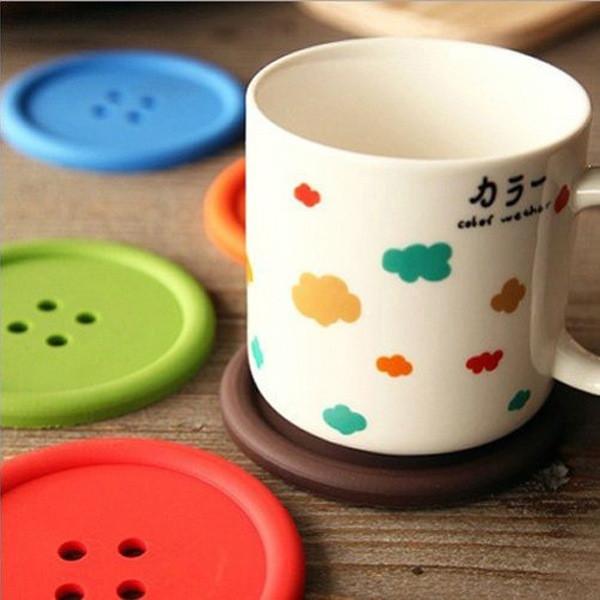 Силиконовая оригинальная подставка Пуговица под чашку, кружку. зеленый цвет