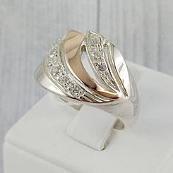 """Серебряное кольцо с золотыми вставками, размер 17,5 """"Аллет"""""""