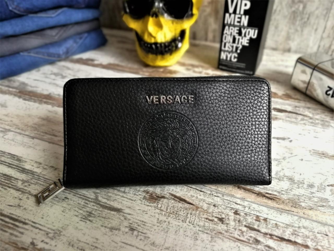 Мужской кошелек - портмоне Versace, черного цвета. ТОП КАЧЕСТВО!!! Реплика