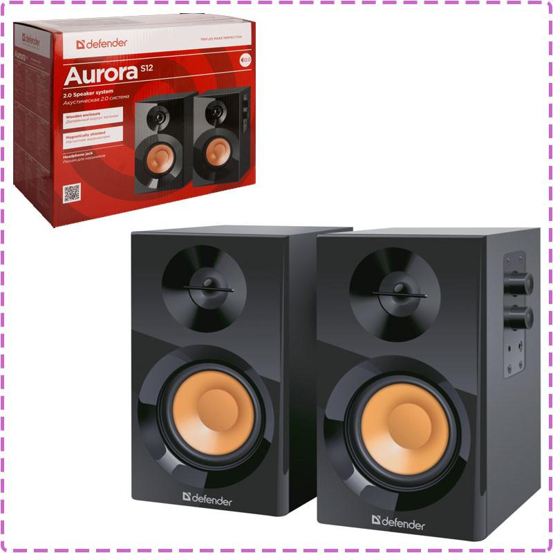 Колонки для компьютера 2.0 Defender Aurora S12, Black, акустика, акустическая система