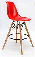 Стул барный Nik Bar высота посадки 75 см, цвет красный пластиковый на деревянных ножках, Eames DSW Barstool