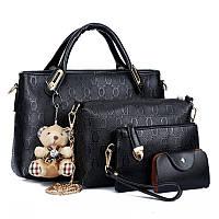 Женская сумка набор 4в1 из экокожи с брелочком черный