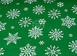 "Отрез ткани №1095  новогодняя ""Снежинки-бусинки"" на зелёном фоне, размер 85*160, фото 2"