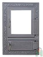 Дверки чугунные Halmat FPM2 475X325 со стеклом. Дверцы для печи и барбекю