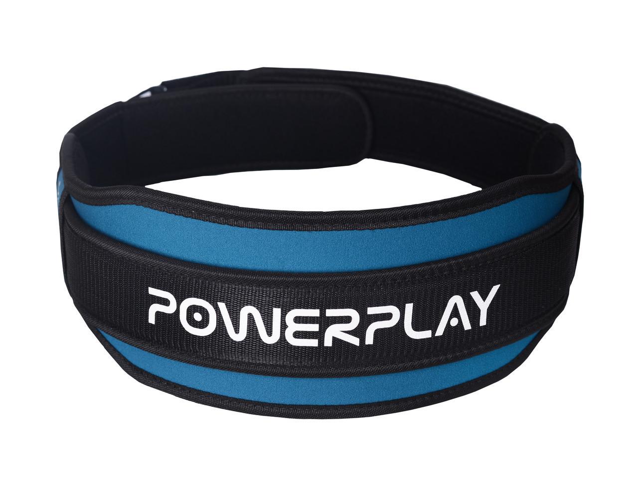 Пояс для важкої атлетики PowerPlay 5545 Синьо-Чорний (Неопрен) L