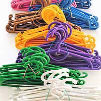 Детские плечики вешалки тремпеля для одежды пластиковые для дома и магазина цветные, 31 см, 10 шт