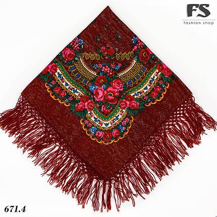 Справжня українська вовняна бордова хустка з люрексом  Чудові квіти, фото 2