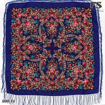 Павлопосадская синяя шаль Непревзойдённая роспись, фото 2