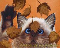 Набор для вышивания бисером МП Студия БГ-182 Котик в листьях
