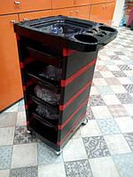 Тележка для парикмахера 525 черно-красная