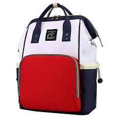 ✖Сумка Maikunitu Mummy Bag Blue + White для мамы и ребенка рюкзак-сумка органайзер для детских вещей с USB