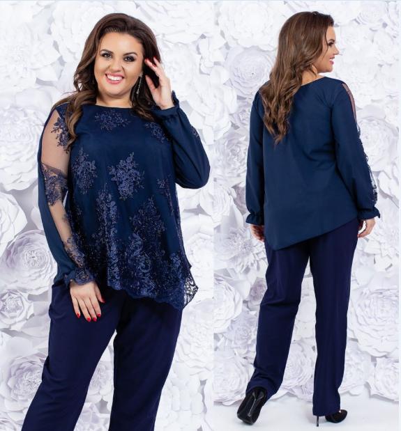 937f8c6b35c Женский нарядный брючный костюм двойка большого размера  продажа ...