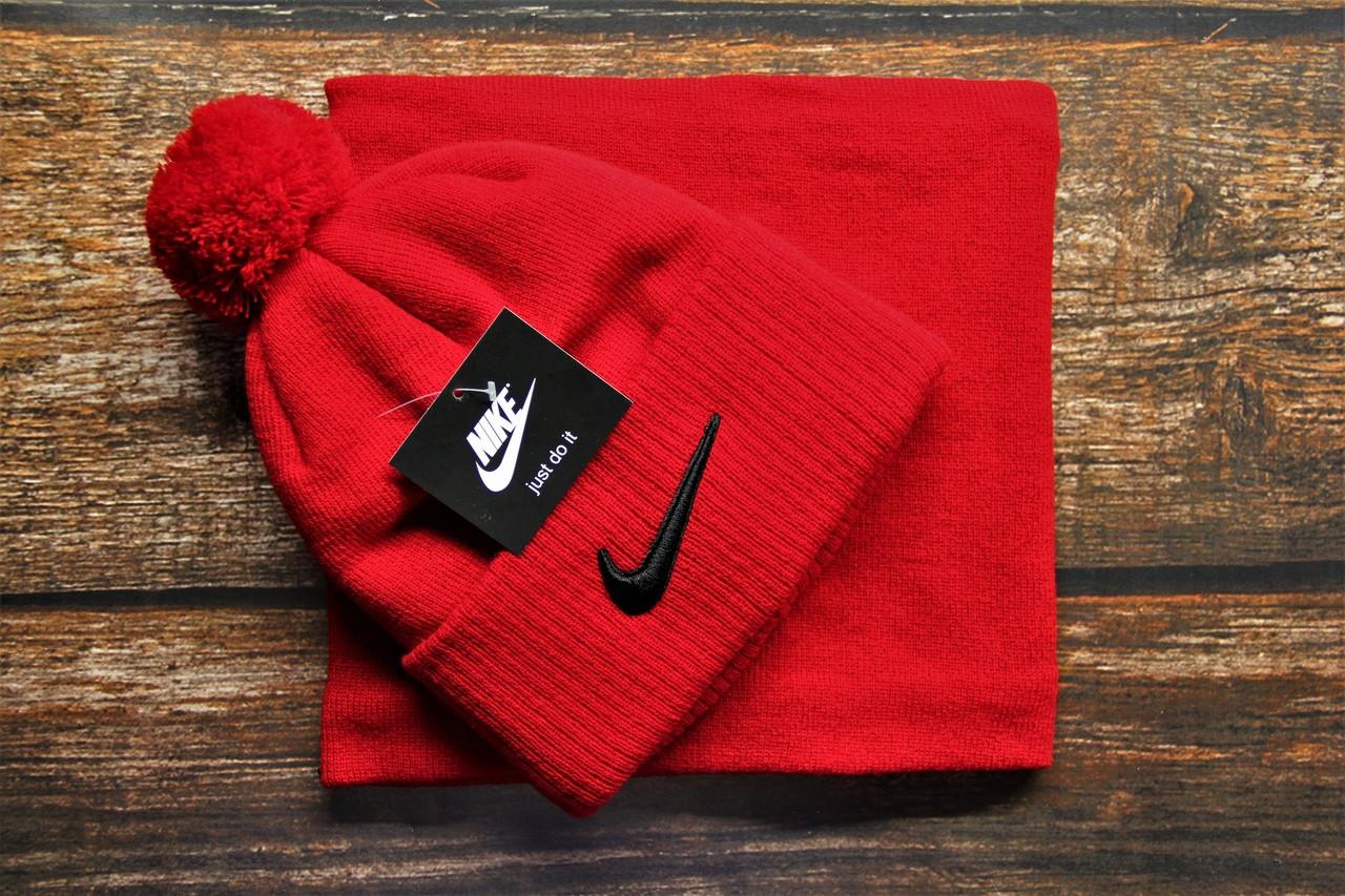 Зимняя мужская шапка + бафф Nike. ТОП качество!!! Реплика