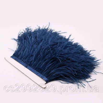 Перо страуса (10м)синий.Перо страуса на ленте, фото 2