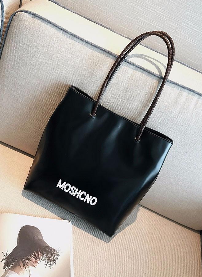 Женская модная сумка-шоппер из экокожи черная с перламутровым отливом опт