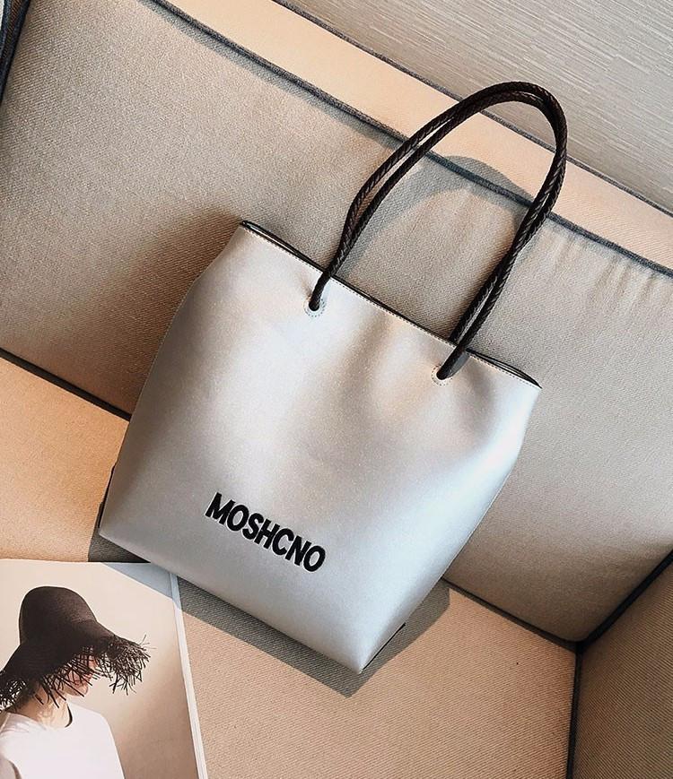 Женская сумка-шоппер серебристая из экокожи опт