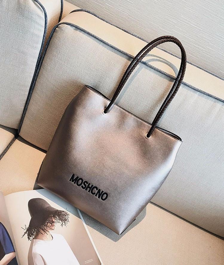 Стильная сумка-шоппер цвета пудровый металлик опт