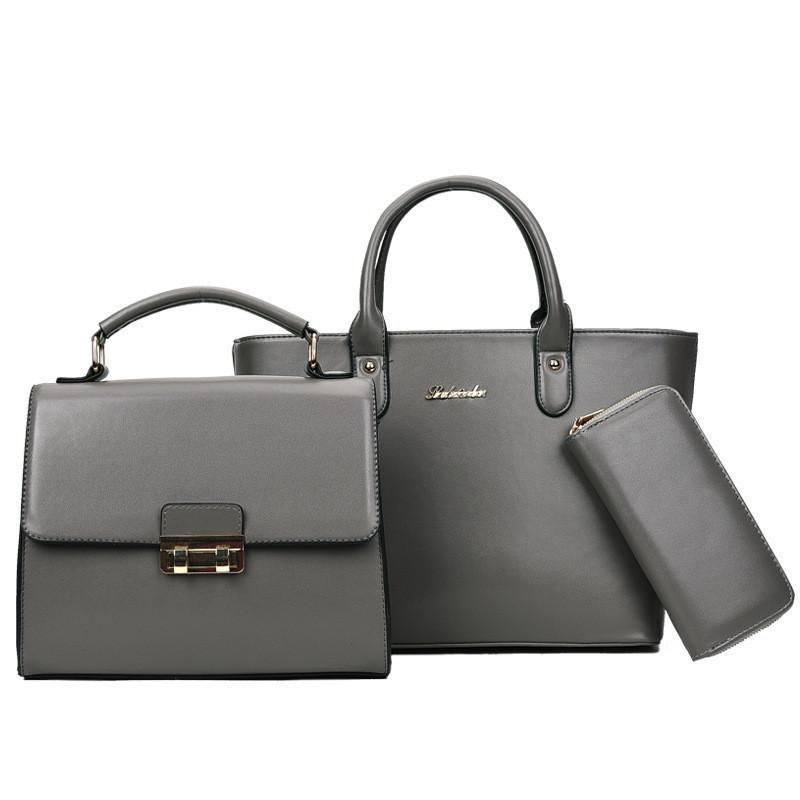 Набор женских сумок 3в1 из экокожи серый опт
