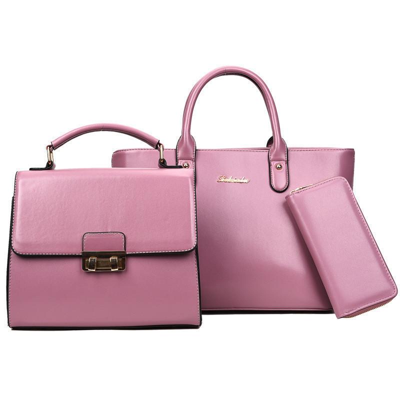 Набор женских сумок 3в1 фиолетовый из экокожи опт