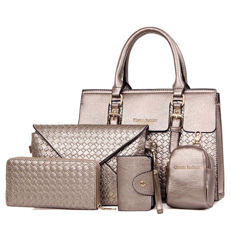 Набор женских сумок цвета серебро 5в1 из экокожи опт
