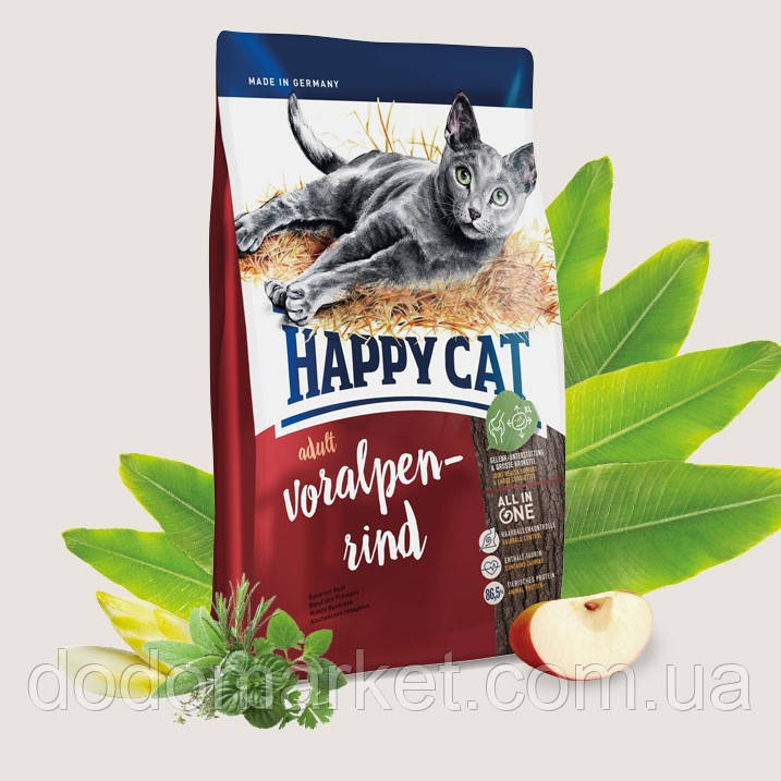 Сухой корм для кошек Happy Cat Supreme Adult Альпийская говядина 4 кг