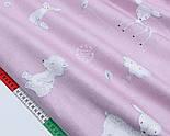 """Сатин ткань """"Лесные звери и деревья"""" белые на сиренево-розовом № 1774с, фото 3"""