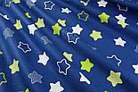 """Лоскут ткани хлопковая """"Звёзды-пряники с зигзагами"""" салатовые на синем  № 1340, фото 5"""