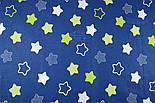 """Лоскут ткани хлопковая """"Звёзды-пряники с зигзагами"""" салатовые на синем  № 1340, фото 6"""