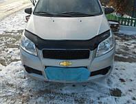 Дефлектор капота (мухобойка) Chevrolet Aveo с 2008 г.в.( х/б)