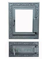 Дверки чугунные Halmat DPK14/6 со стеклом. Дверцы для печи и барбекю