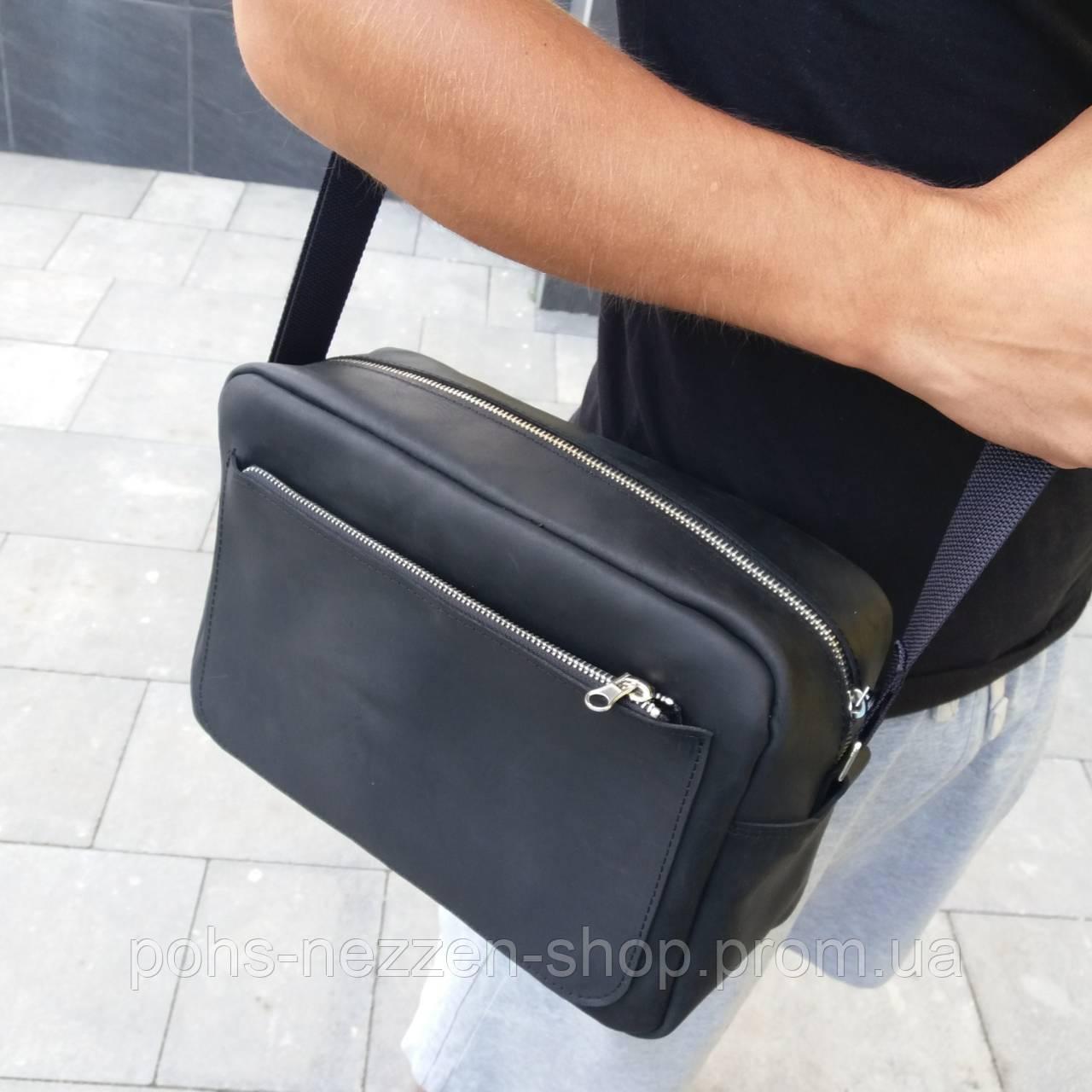 ab67a4b7f88f Кожаная мужская сумка через плечо, ручной работы. Чёрный цвет. - Zen shop в