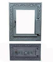 Дверки чугунные Halmat DPK14/6R со стеклом. Дверцы для печи и барбекю