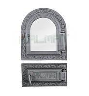 Дверки чугунные Halmat DPK9/6 со стеклом. Дверцы для печи и барбекю