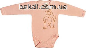 Дитяче тепле боді з начосом ріст 56 0-2 міс трикотажне інтерлок теракотове на дівчинку футболка з довгим