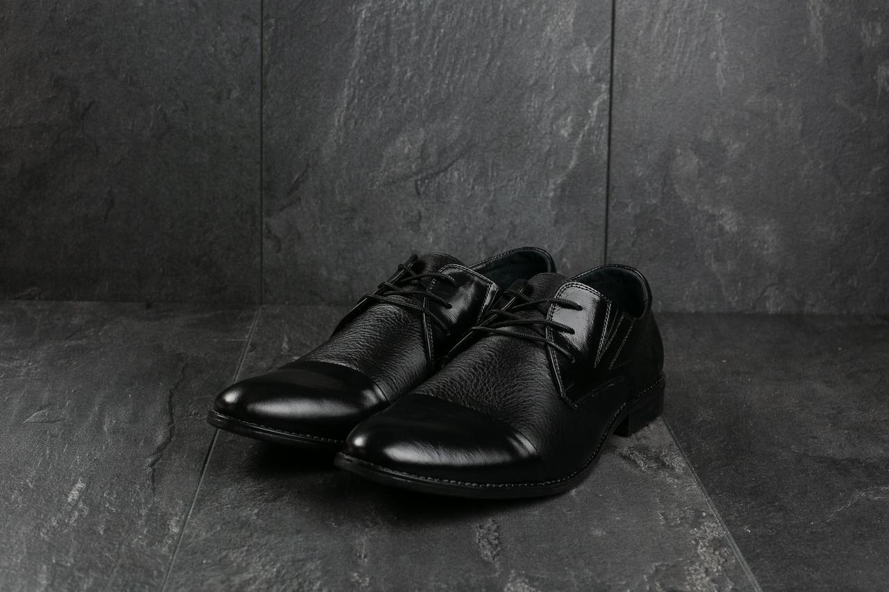 Мужские туфли кожаные весна/осень черные Slat 17105