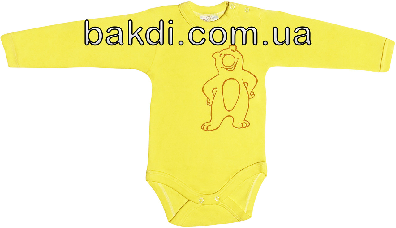 Дитячий боді з начосом ріст 68 (3-6 міс.) інтерлок лимонний на хлопчика/дівчинку з довгим рукавом для