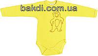 Детское тёплое боди с начёсом рост 68 3-6 мес трикотажное интерлок лимонное на мальчика девочку бодик с длинным рукавом для новорожденных малышей Л453