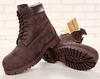 Зимние мужские ботинки Timberland classic 6 inch шоколадные с шерстяным мехом (Реплика ААА+), фото 1