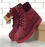 Зимние женские ботинки Timberland 6 inch maroon с мехом (Реплика ААА+), фото 1